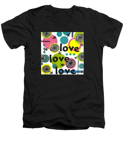 Men's V-Neck T-Shirt featuring the mixed media Playful Love by Gloria Rothrock