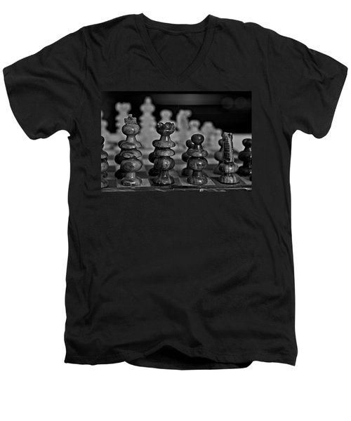 Playing Chess 2 Men's V-Neck T-Shirt by Cendrine Marrouat