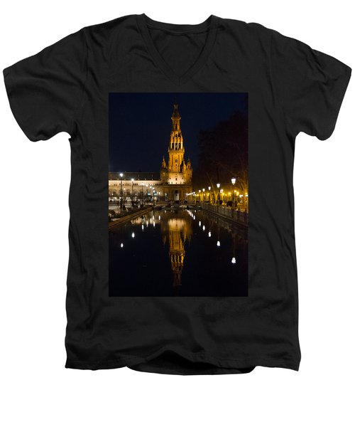 Plaza De Espana At Night - Seville 6 Men's V-Neck T-Shirt