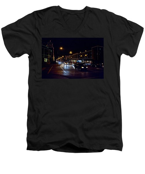 Men's V-Neck T-Shirt featuring the photograph Plaza Lights by Jim Mathis