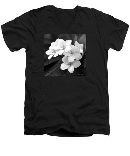 Plumeria - Black And White Men's V-Neck T-Shirt by Kerri Ligatich