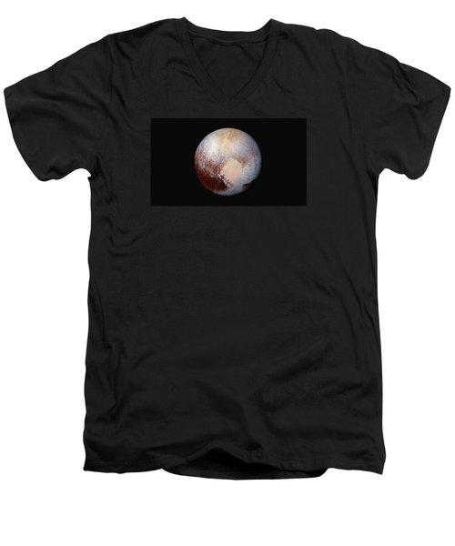 Pluto Dazzles In False Color Men's V-Neck T-Shirt by Nasa
