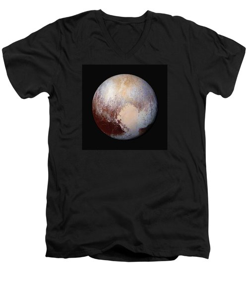 Pluto Dazzles In False Color - Square Crop Men's V-Neck T-Shirt by Nasa