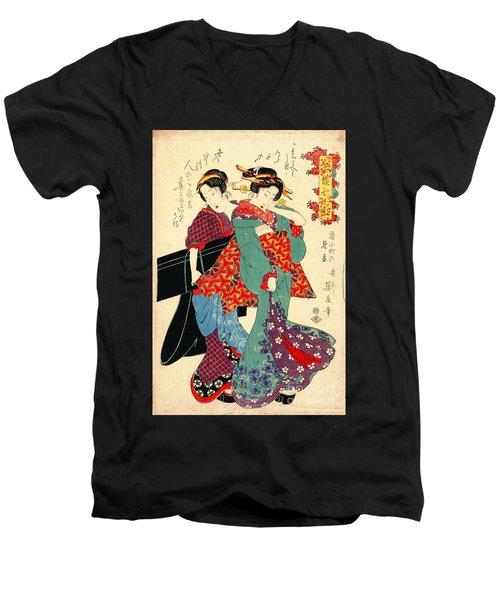 Poet Komachi 1818 Men's V-Neck T-Shirt by Padre Art