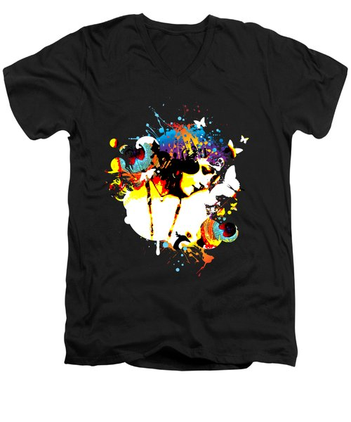 Poetic Peacock - Bespattered Men's V-Neck T-Shirt by Chris Andruskiewicz