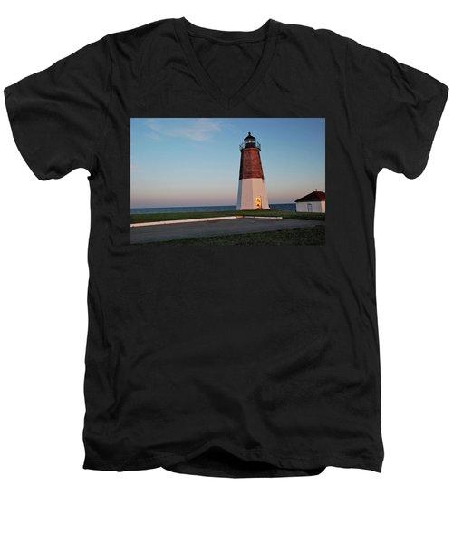 Point Judith Lighthouse Rhode Island Men's V-Neck T-Shirt by Nancy De Flon