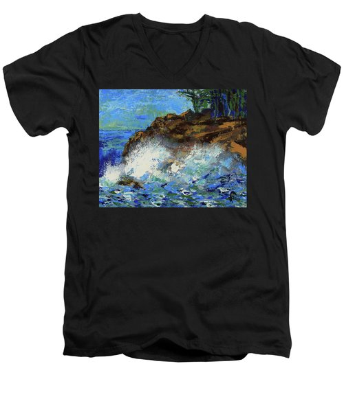 Men's V-Neck T-Shirt featuring the painting Point Lobos Crashing Waves by Walter Fahmy