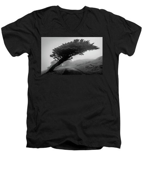 Point Reyes Fog Black And White Men's V-Neck T-Shirt