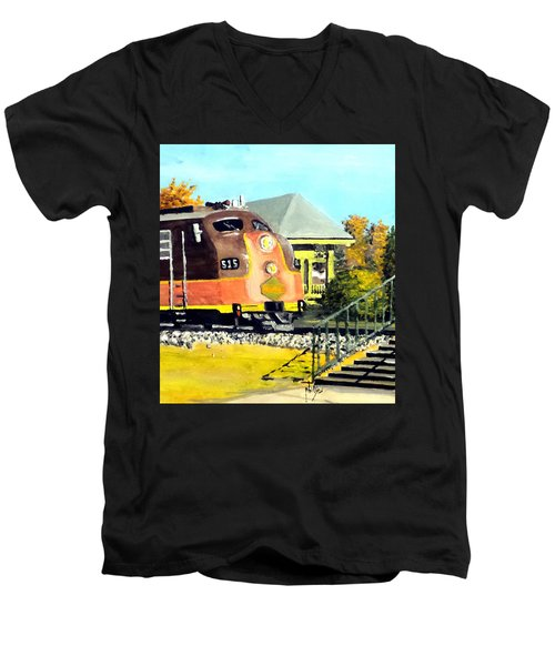 Polar Express Men's V-Neck T-Shirt by Jim Phillips