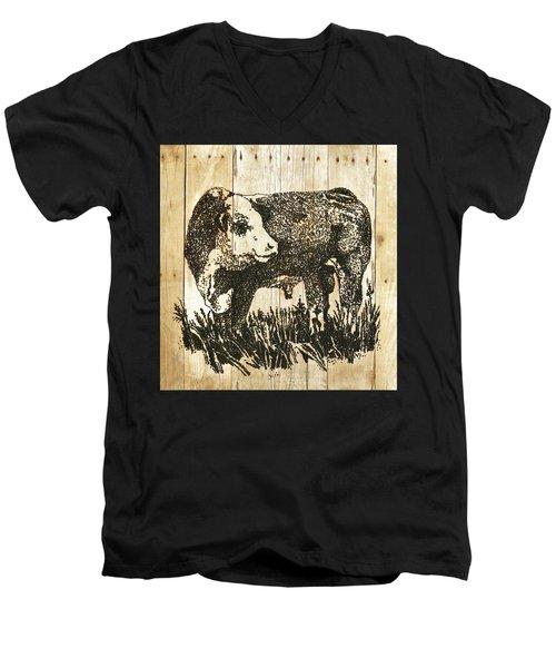 Polled Hereford Bull 11 Men's V-Neck T-Shirt