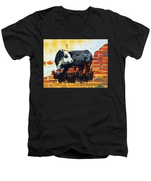 Polled Hereford Bull  Men's V-Neck T-Shirt by Larry Campbell