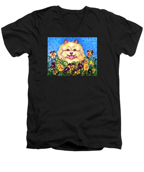 Pomeranian With Pansies Men's V-Neck T-Shirt by Laura Aceto
