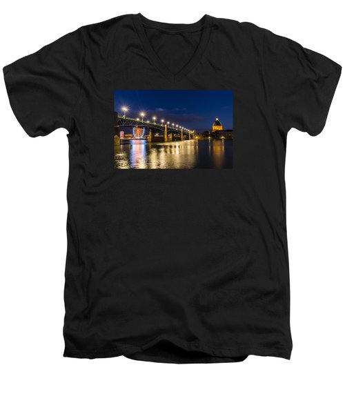 Men's V-Neck T-Shirt featuring the photograph Pont Saint-pierre With Street Lanterns At Night by Semmick Photo