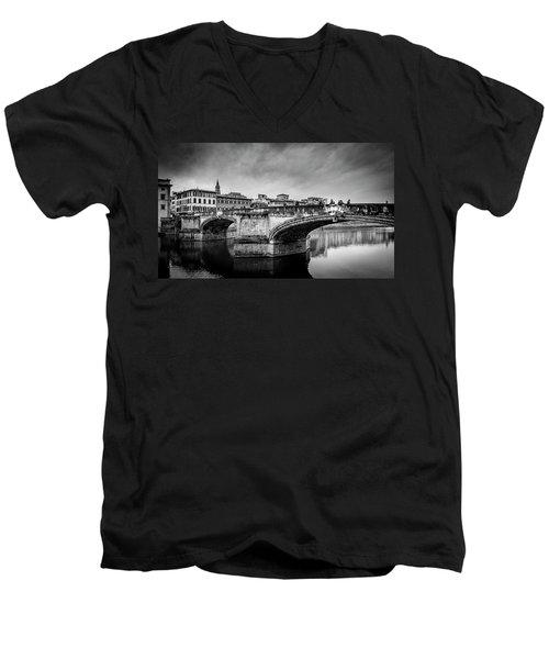 Men's V-Neck T-Shirt featuring the photograph Ponte Santa Trinita by Sonny Marcyan
