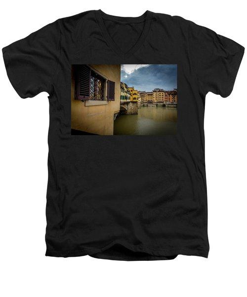 Ponte Vecchio Men's V-Neck T-Shirt by Sonny Marcyan