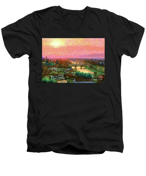 Ponte Vecchio Sunset Florence Men's V-Neck T-Shirt