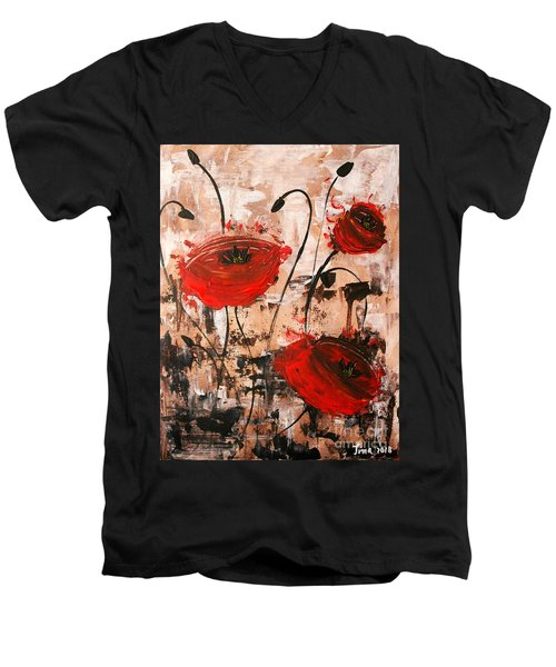 Pop Goes The Poppies Men's V-Neck T-Shirt