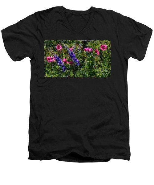 Poppies Men's V-Neck T-Shirt by Lisa L Silva