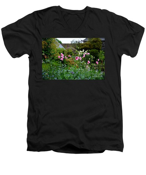 Poppies Of The Great Dixter Men's V-Neck T-Shirt by Tanya Searcy