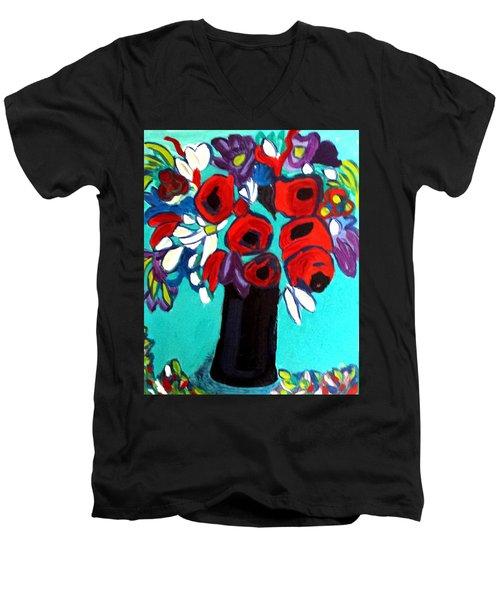 Poppies Red Men's V-Neck T-Shirt