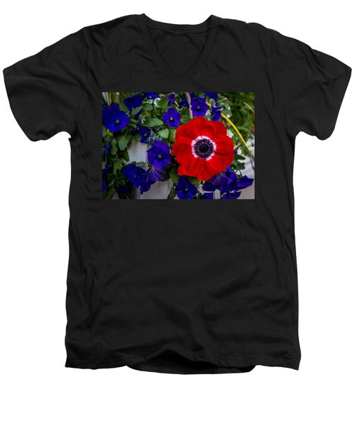 Poppy And Pansies Men's V-Neck T-Shirt