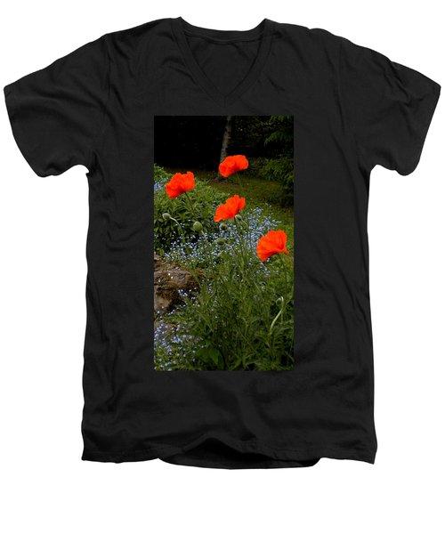 Poppy Foursome Men's V-Neck T-Shirt by Renate Nadi Wesley