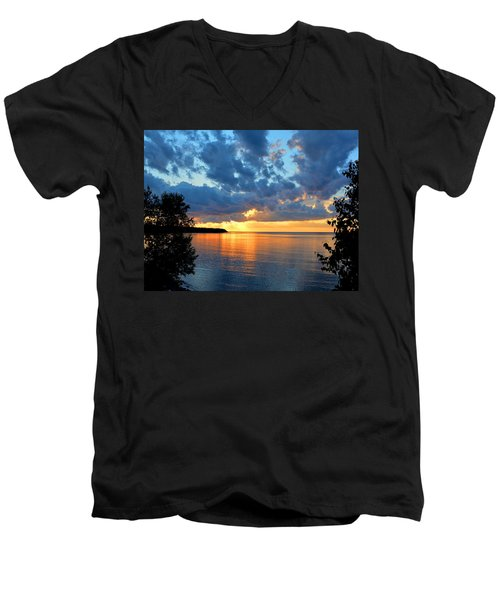 Porcupine Mountains Sunset Men's V-Neck T-Shirt by Keith Stokes