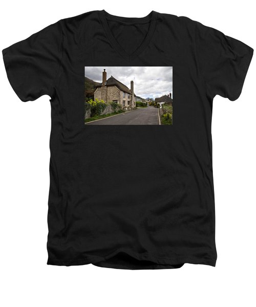 Men's V-Neck T-Shirt featuring the photograph Porlock Weir by Shirley Mitchell