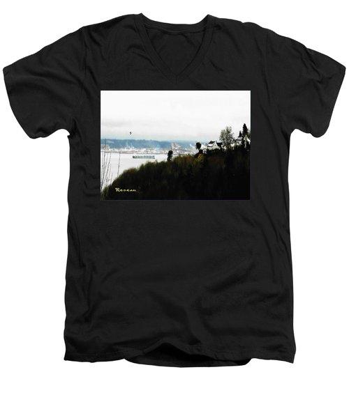 Port Of Tacoma At Ruston Wa Men's V-Neck T-Shirt by Sadie Reneau
