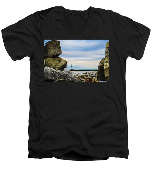 Port Washington Light 4 Men's V-Neck T-Shirt by Deborah Smolinske