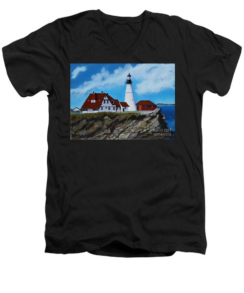 Portland Head Light In Maine Viewed From The South Men's V-Neck T-Shirt