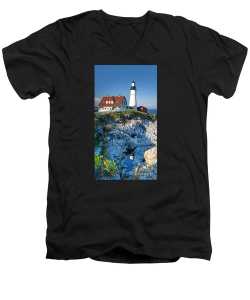 Portland Head Light Men's V-Neck T-Shirt