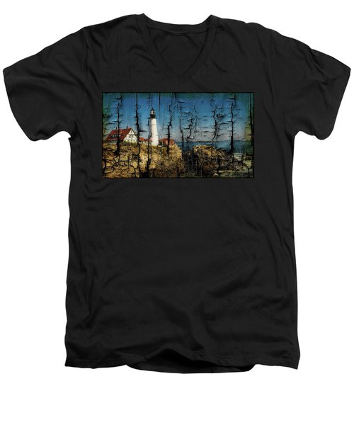 Portland Head Lighthouse 5 Men's V-Neck T-Shirt by Sherman Perry