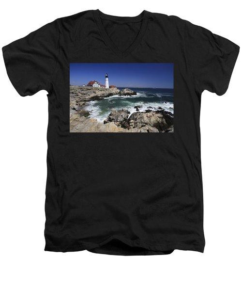 Portland Head Lighthouse, Maine, Usa Men's V-Neck T-Shirt