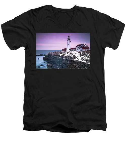Maine Portland Headlight Lighthouse In Winter Snow Men's V-Neck T-Shirt by Ranjay Mitra