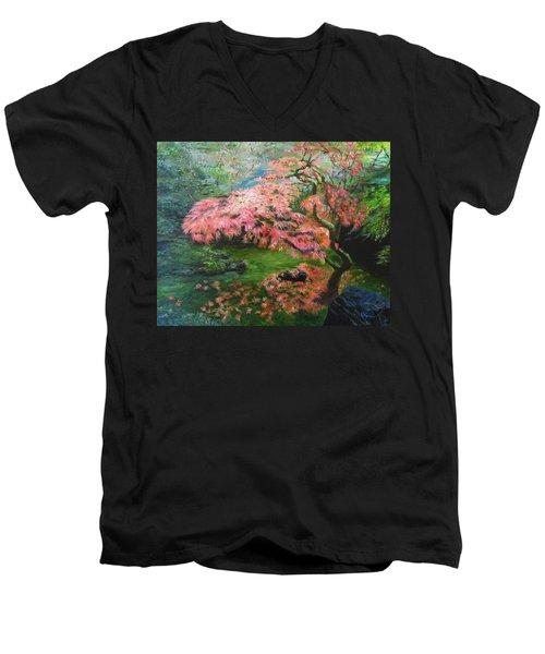 Portland Japanese Maple Men's V-Neck T-Shirt