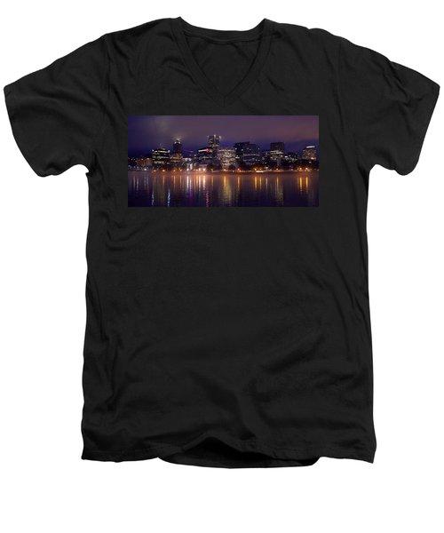Portland Night Skyline Men's V-Neck T-Shirt by Joseph Skompski