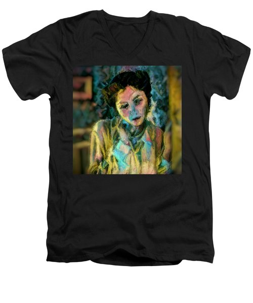 Portrait Colorful Female Wistfully Thoughtful Pastel Men's V-Neck T-Shirt by MendyZ