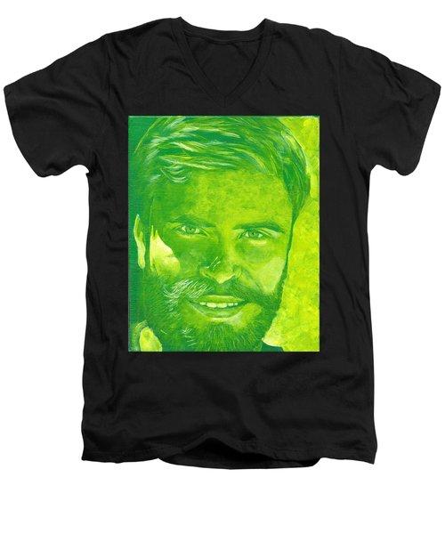 Portrait In Green Men's V-Neck T-Shirt