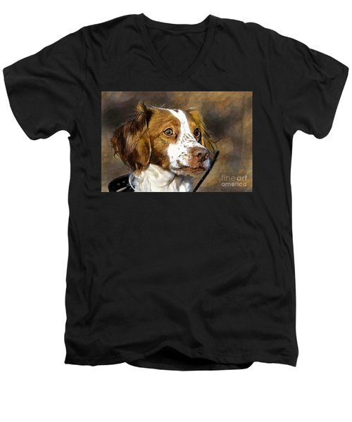 Men's V-Neck T-Shirt featuring the photograph Portrait Of A Brittany - D009983-a by Daniel Dempster