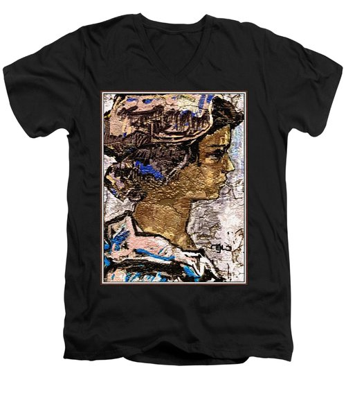Men's V-Neck T-Shirt featuring the digital art Portrait Of A Girl Pog2 by Pemaro