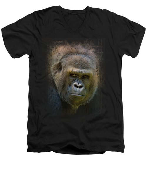 Portrait Of A Gorilla Men's V-Neck T-Shirt by Jai Johnson