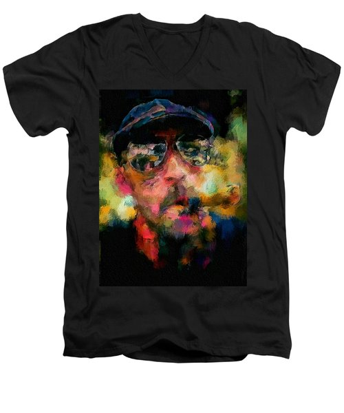 Portrait Of A Man In Sunglass Smoking A Cigar In The Sunshine Wearing A Hat And Riding A Motorcycle In Pink Green Yellow Black Blue Oil Paint With Raking Light To Pick Up Paint Texture Men's V-Neck T-Shirt by MendyZ