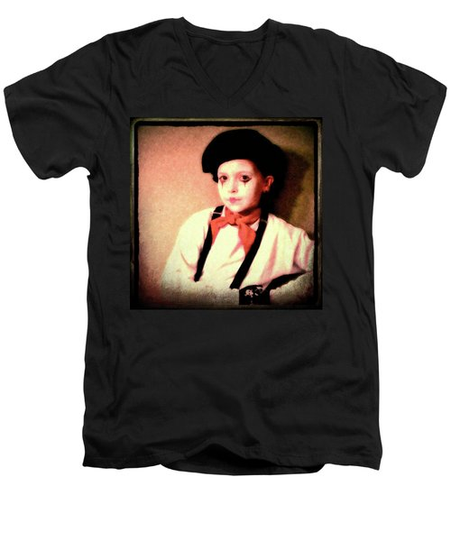 Portrait Of A Young Mime Men's V-Neck T-Shirt