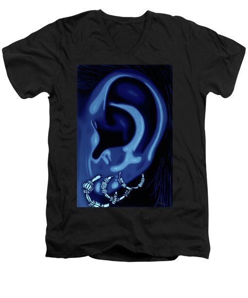 Portrait Of My Ear In Blue Men's V-Neck T-Shirt