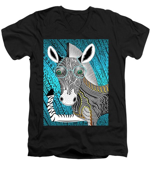 Portrait Of The Artist As A Young Zebra Men's V-Neck T-Shirt