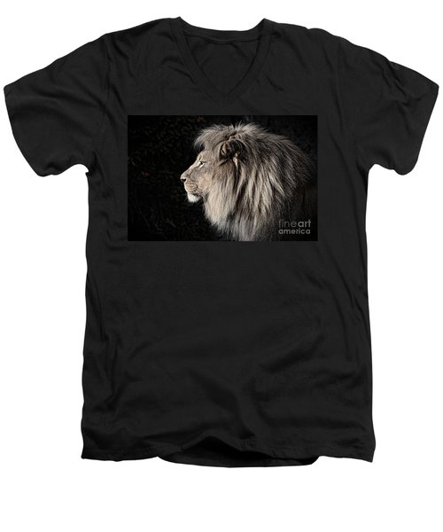 Portrait Of The King Of The Jungle II Men's V-Neck T-Shirt by Jim Fitzpatrick