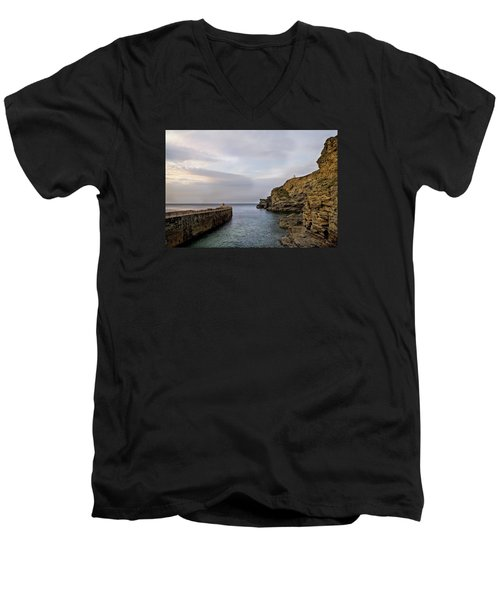 Men's V-Neck T-Shirt featuring the photograph Portreath Harbour, Cornwall Uk by Shirley Mitchell