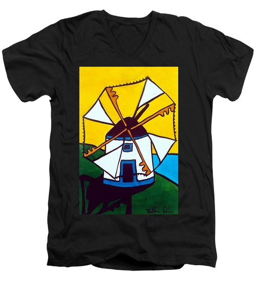 Men's V-Neck T-Shirt featuring the painting Portuguese Singing Windmill By Dora Hathazi Mendes by Dora Hathazi Mendes