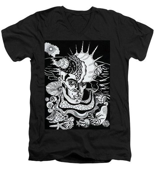 Poseidon Men's V-Neck T-Shirt by Yelena Tylkina